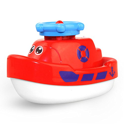 (Joyfun Pool Toys for Girls Water Toys Floating Bathtub Toys Spray Ship Christmas Birthday Gifts for Boys JF-SWJ-Boat Red)