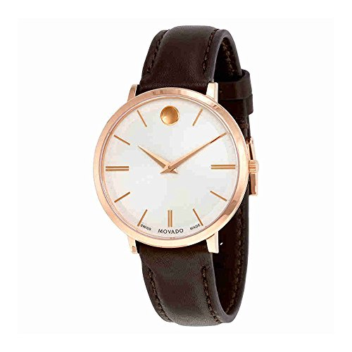 Movado Ultra Slim Silver Dial Leather Strap Ladies Watch 0607093