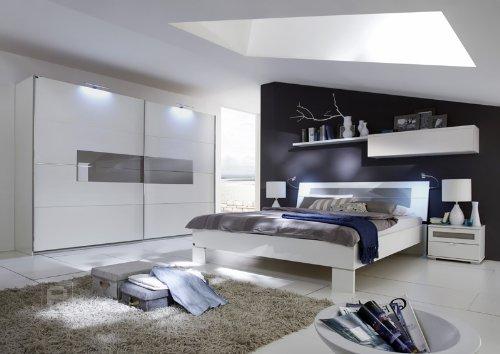 Schlafzimmer 6tlg »ADVANCE« alpinweiß mit sahara-grauem Glas