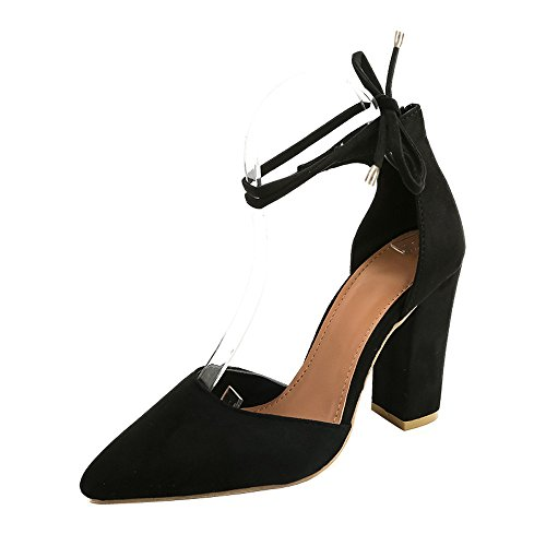 Fashion Women Solid Color Pointed ShoesThick Heel Suede Rough with Suede Leg Banding High Heeled Shoes Sandals Black KwvAVgH