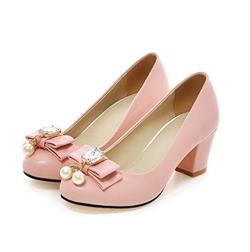 AllhqFashion Damen PU Leder Rein Ziehen auf Rund Zehe Mittler Absatz Pumps Schuhe Pink