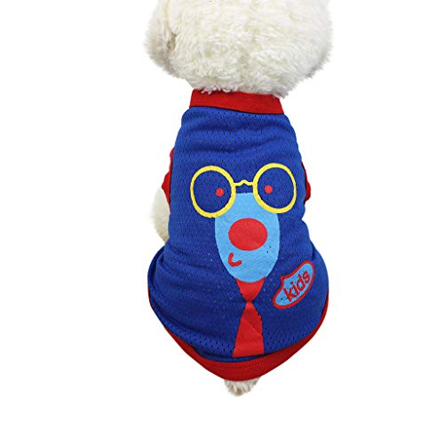 Longay Summer Dog T Shirt Pet Clothes Apparel Breathable Vest Costumes (Blue, XS)