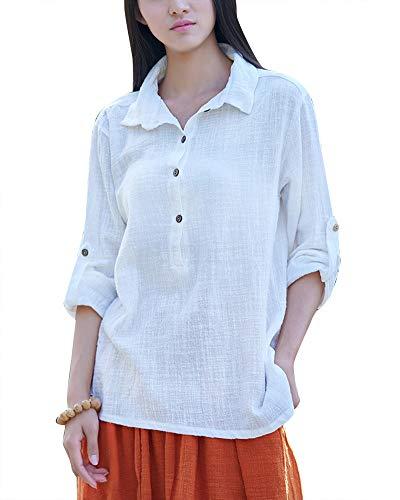 Lin Chemise Blouse Ample en T Longue Blanc Manche Shirts Femme Casual wUF6RBq