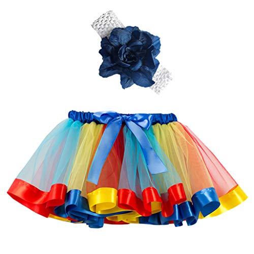 Sunhusing Children Girls Rainbow Tutu Skirt + Hair Strap Two-Piece Set Toddler Party Dance Ballet Costume Skirt -