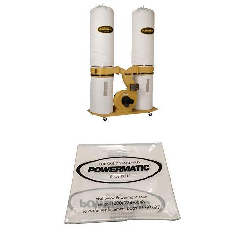 """Powermatic PM1900TX-BK3 Dust Collector 3HP 3PH 230/460-Volt 30-Micron Bag Filter Kit with Powermatic 1791087 20"""" Clear Collection Bag (Pack of 5)"""