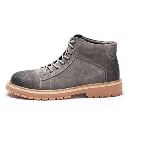 Mens Varkensleer Martin Enkellaarsjes Lace Up Combat Boots Mode Werkschoen 19988 Grijs