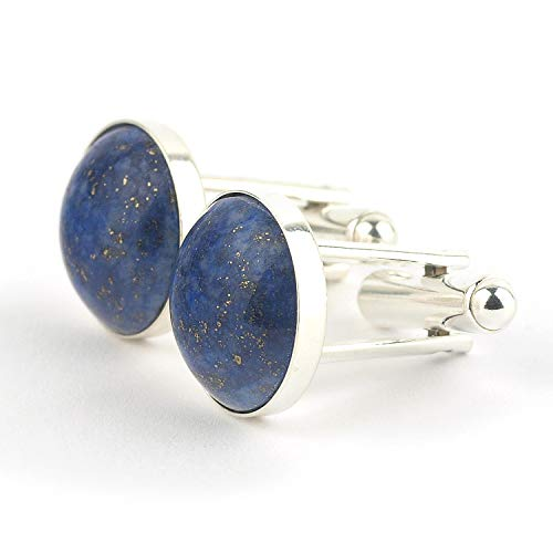 Cufflinks for men's shirt with Lapis lazuli and solid sterling silver round-shaped