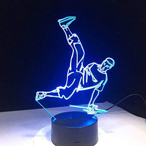 FISSEN 3D Hip hop LED Lampe d'illusion Optique Lampe Lumière de Nuit avec Câble USB et 7 Couleurs Décoration pour Enfant Chambre Chevet Table de Bébé