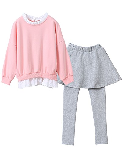 M RACLE Cute Little Girls' 2 Pieces Long Sleeve Top Pants Leggings Clothes Set Outfit (5-6 Years, Pink grey) -