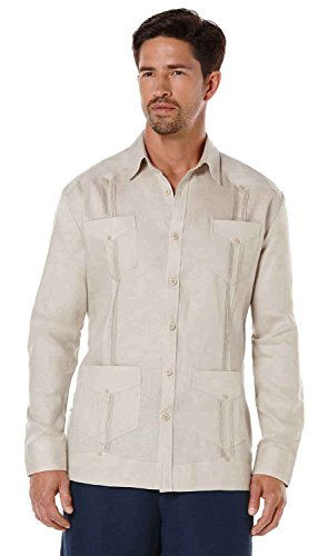 Cubavera Long Sleeve 100% Linen Plain Front Pleated Guayabera Shirt, Natural, (Pleated Long Sleeve Linen Shirt)