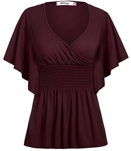Meaneor Women's Short Sleeve V-Neck Tee Tank Top Shirt Dark Red (Empire Waist Kimono Sleeve Top)