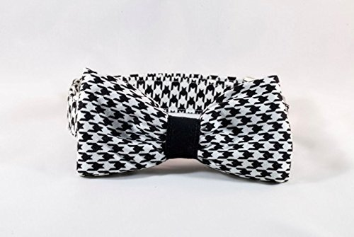 Set of 3 Hair Bows Black Paw Prints and Polka Dot 6 Size Houndstooth