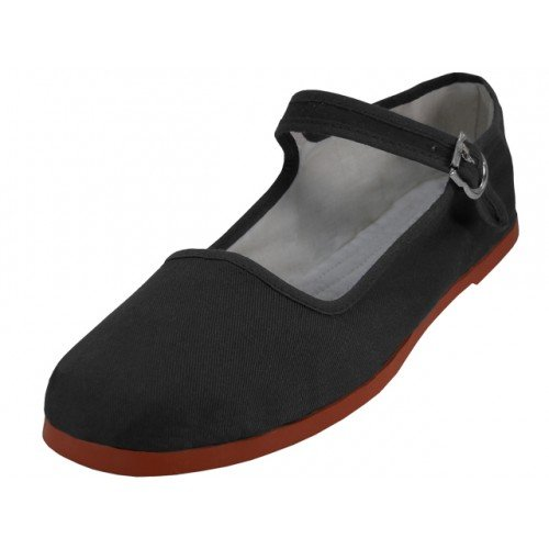 Easy USA Womens Cotton Mary Jane Shoes Ballerina Ballet Flats Shoes (8, Black 114)]()