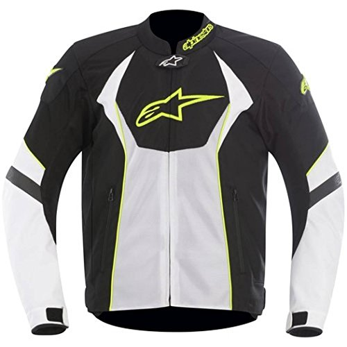 (Alpinestars T-GP R Air Textile Men's Riding Jacket (Black/White/Yellow, Medium))