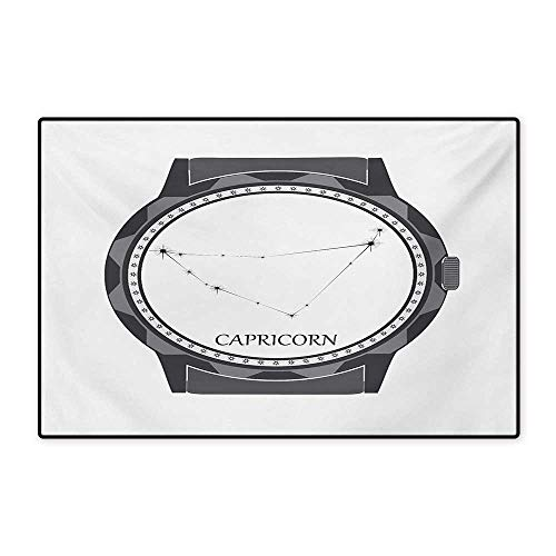 or Mat for Kids Greyscale Watch Dial Design with Horoscope Constellation Motif Floor Mat Pattern 32