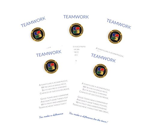 [Set of 5] Teamwork Appreciation Greeting Cards & Motivating Lapel Pin Gifts, Perfect for Employee, Student, Co-worker, Volunteer Recognition and Thanks ()