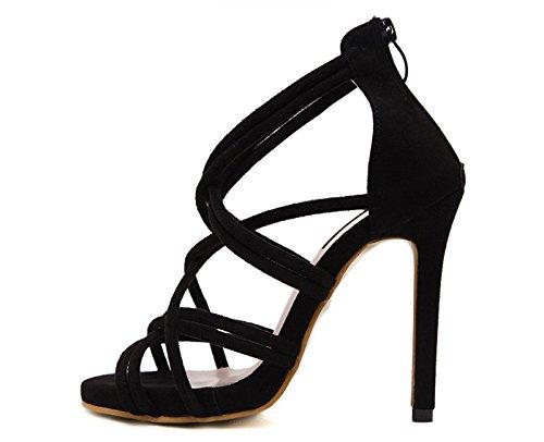 Cuir Chaussures Khskx À En Talons Noires l'8 Des Amende Avec Une Sandales nine Thirty Hauts 5cm Souliers Bien qqgpwZ