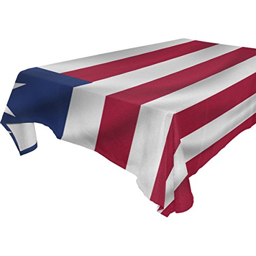 Liberia Flag 100% Polyester Tablecloth Table Cover for Dinner Parties Picnic Kitchen Home Decor, Multi ()