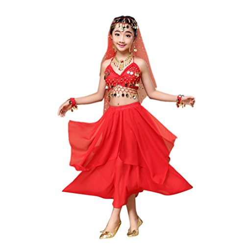 Gift!!!Elaco Belly Dance Costume Clothes,Elaco Children Girls Outfit India Dance Clothes Top Skirt (Red, (2)