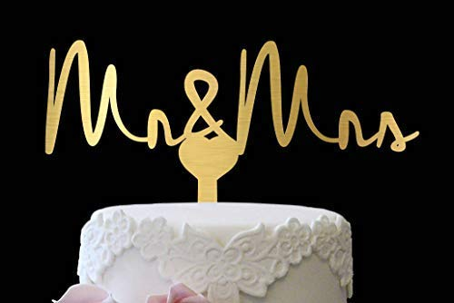 DWYHH Gold Cake Topper Mr and Mrs Personalized Mr and Mrs Cake Topper Gold Rustic Cake Topper Cake Topper Mr and Mrs Rustic Wedding Cake Topper