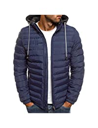 OMINA Mens Down Jacket with Hood, Casual Warm Winter Slim Fit Zipper Coat Outwear Lightweight