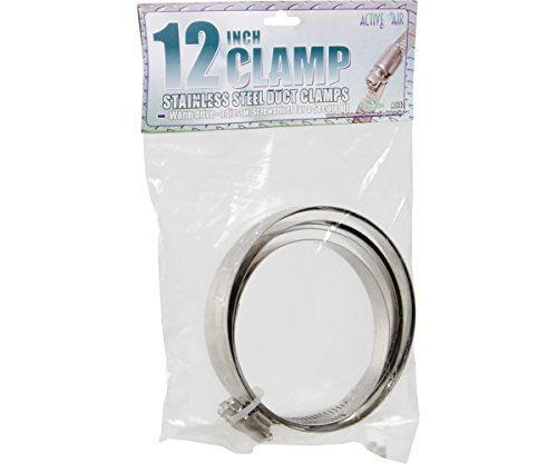"""Hydrofarm Active Air Stainless Steel Duct Clamps, 12"""" (Pack of 2)"""