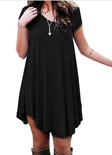 b92a0f9312 Tooklanet Women s Swing Long Sleeve Casual Loose T-Shirt Dress Black Short S