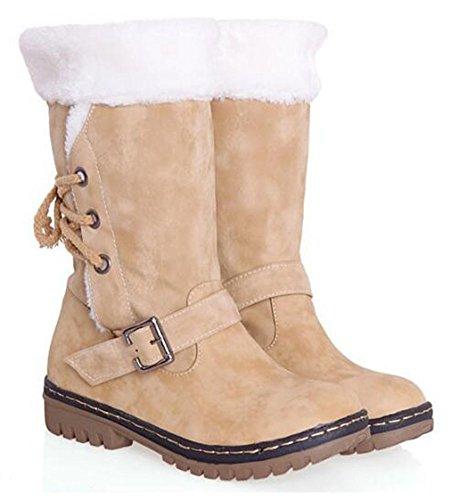Chfso Dames Winter Trendy Solide Ronde Neusgesp Met Imitatiebont Gevoerd Middenmanchette Medieleepslaarzen Geel