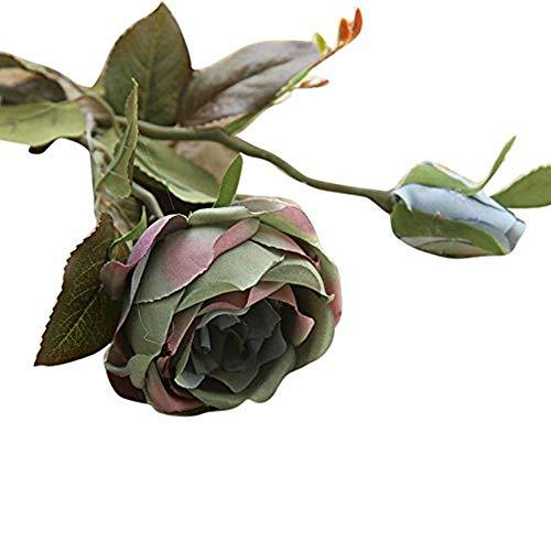 Artificial Fake Flowers nikunLONG Roses Floral Wedding Bouquet Arrangement Wood Vase Wedding Home -