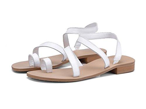 Sandali Piatte Da White In Da Perizoma Nere Velluto In Spiaggia ZLIDS Coste Pelle Bianche Estivi Donna A B4qnxSPdS