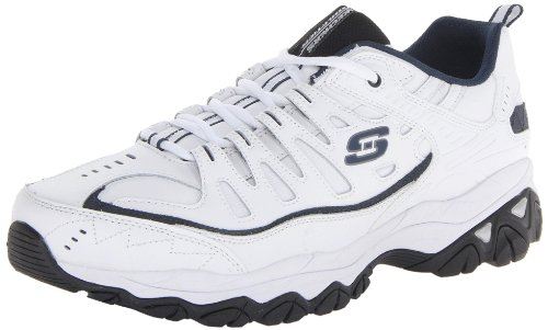 Skechers Oxfords Athletic (Skechers Sport Men's Fit Reprint Oxford,White/Navy,9 M US)
