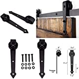 6.6FT Heavy Duty Sturdy Sliding Barn Wood Door Basic Track Hardware Kit w/Super Smoothly and Quietly | Simple and Easy to Install | (Only 1 Pair, Two''Arrow'' Style Rollers)