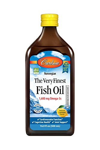 Carlson - The Very Finest Fish Oil, 1600 mg Omega-3s, Norwegian, Sustainably Sourced, Lemon, 500 ml