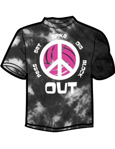Tandem Sport Peace Out Volleyball T-Shirt, Tie Dye Black, Medium