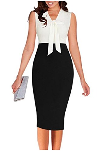 Bodycon Bow Print Dress Knot Women Fit Sleeveless Pencil White Slim Coolred UTIqO6n