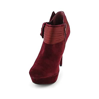 Bamboo Womens Covina-50 Boot - Wine Red Size 6