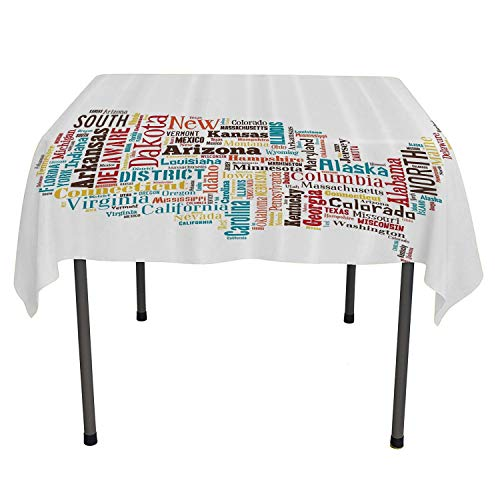 All of better tablecloths Party Decorations USA United States America Map Cities and Towns California Missouri Virginia Outdoor Picnic Table Cloth Washable Spring/Summer/Party/Picnic 54 by -