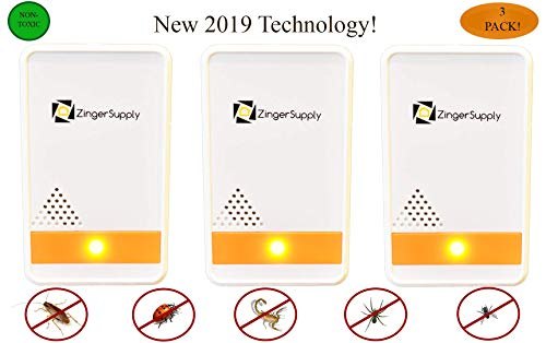ZingerSupply Ultrasonic Pest Repeller- (3 Pack) Repels Insects, Mice, Squirrels, Misquotes, Roaches, Ants, Fleas, Plug in Home Indoor Repeller-No Traps, Poison Or Spray