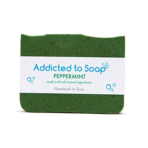 (Addicted to Soap – Old Fashioned Natural Shampoo Bar 5 Ounces Eco-Friendly Solid Bar Shampoo for Men & Women Organic Coconut Oil Sulfate Free Leaves Hair Shiney Soft (Peppermint Shampoo Bar))