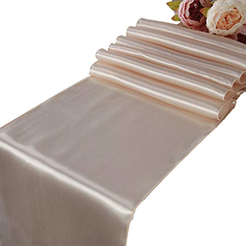 Champagne Satin Table Runners - 10 pcs Wedding Banquet Party Event Decoration Table Runners (Champagne, 10)