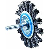 "Walter 13C130 Knot Twisted Mounted Wire Brush, Carbon Steel, 2-3/4"" Diameter, 0.020"" Wire Diameter, 20000 Maximum RPM"