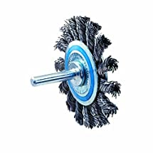 """Walter 13C130 Knot Twisted Mounted Wire Brush, Carbon Steel, 2-3/4"""" Diameter, 0.020"""" Wire Diameter, 20000 Maximum RPM"""