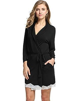 L'amore Womens Bathrobe Three Quarter Sleeve Robe Cotton Comfort Sleepwear