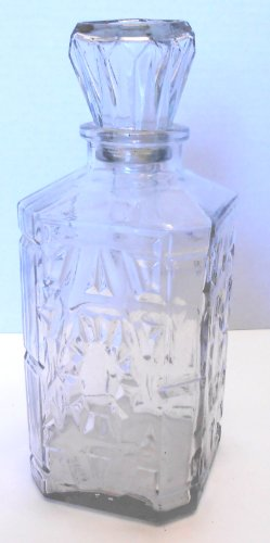 Vintage Pressed Glass Clear Fancy Wine Decanter 9.5