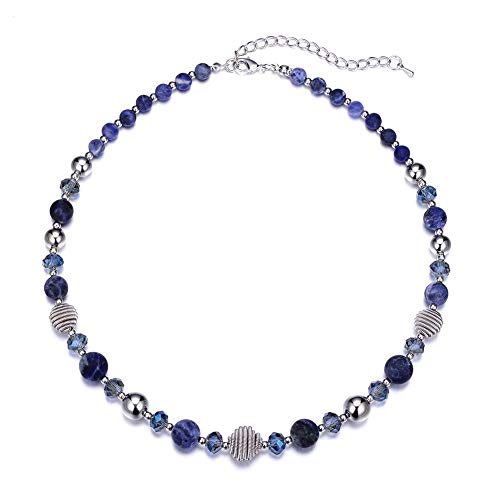 Bulinlin Beaded Strand Pearl Choker Necklace - Fashion Jewelry Birthday Gifts for Women Girls (43-Navy Blue)