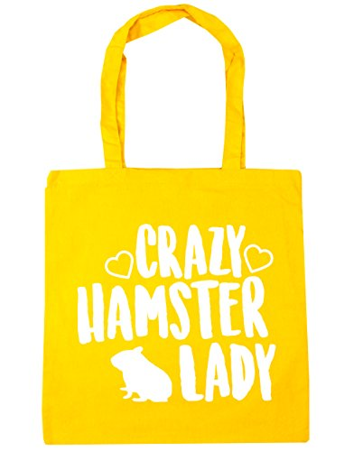 Yellow Shopping 10 Tote Beach hamster litres Bag 42cm Gym HippoWarehouse x38cm Crazy lady Iq7w7fS