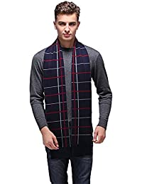 Men Wool Scarf Knit Stripe Plaid Scarves