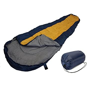 Sleeping BAG Mummy Type 8' Foot Blue Yellow/Orange 20+ Degrees with Carrying Bag