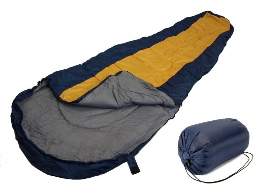 Sleeping BAG Mummy Type 8′ Foot Blue Yellow/Orange 20+ Degrees with Carrying Bag, Outdoor Stuffs
