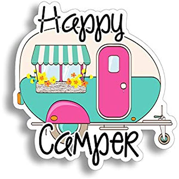multi color or reflective Happy Van Life sticker decal for the rear back window of your camper
